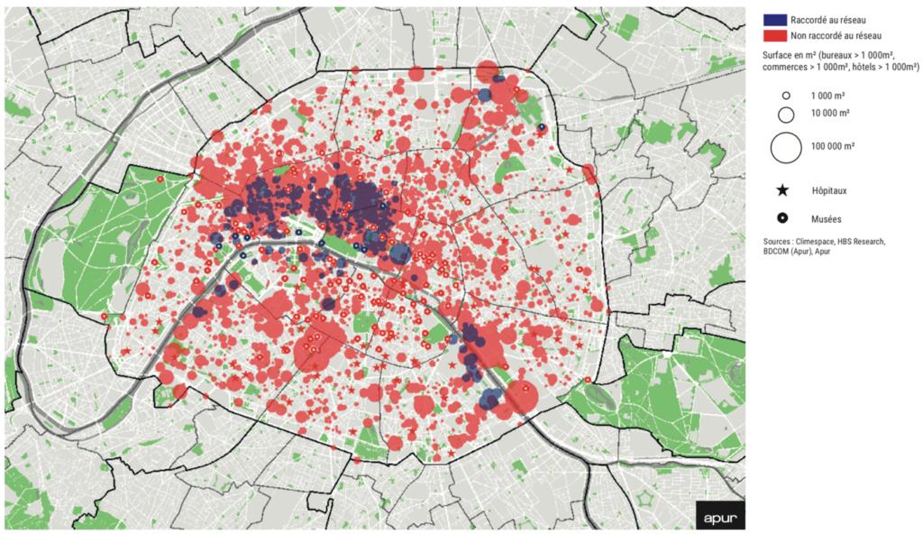 Localisation des consommateurs de froid parisiens et de leur raccordement au réseau Climespace de froid de Paris